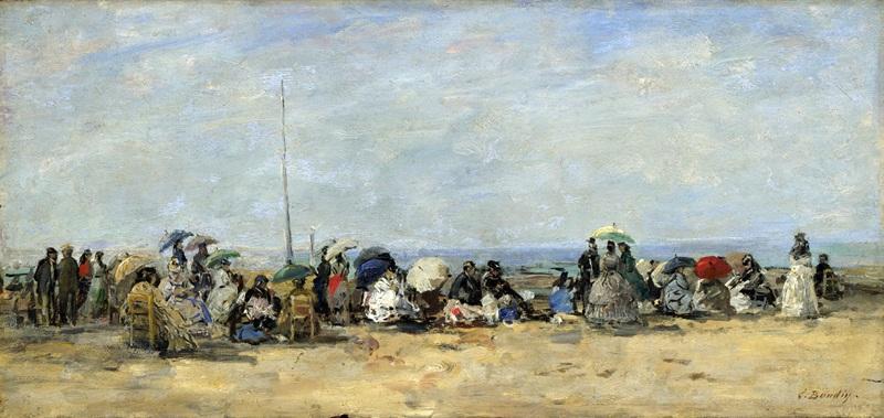 Пляжный пейзаж, Трувиль  печать на холсте, натянут Буден Эжен - фото 1