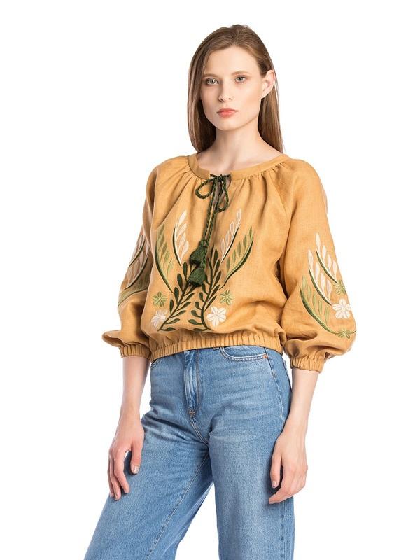 Льняная вышитая блуза на резинке Nature 2 Бежевый  Ткань - лен. Цвет – бежев ЕтноДім - фото 1