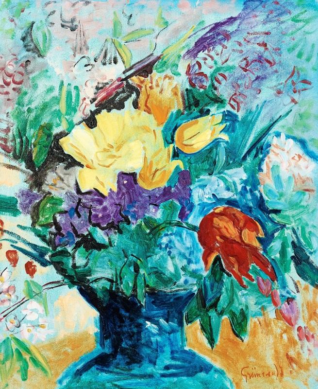 Цветочный натюрморт  печать на холсте, натянут Грюневальд Исаак - фото 1