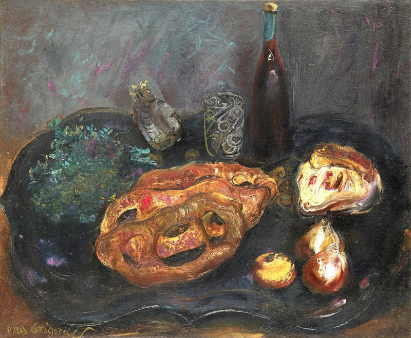 Натюрморт с хлебом и луком  печать на холсте, натянут Григорьев Борис - фото 1