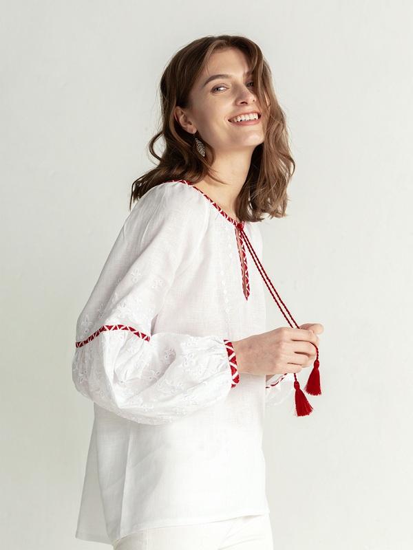 Льняная блузка с красно-белой вышивкой Elin Белый Цвет – белый Ткань – лен ЕтноДім - фото 2