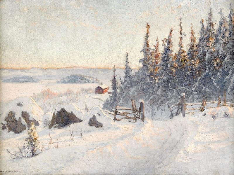 Зимний пейзаж №5  печать на холсте, натянут Шультцберг Ансельм - фото 1