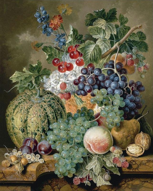 Натюрморт с фруктами на мраморном выступе  печать на холсте, натянут Линдхорст Якобус - фото 1
