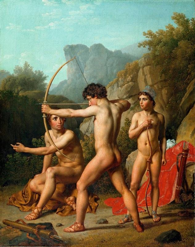 Три спартанских мальчика стреляют из лука  печать на холсте, натянут Эккерсберг Кристоффер Вильхельм - фото 1