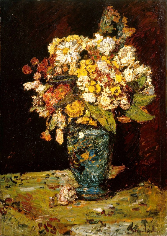 Цветы в синей вазе  печать на холсте, натянут Монтичелли Адольф Жозеф Тома - фото 1