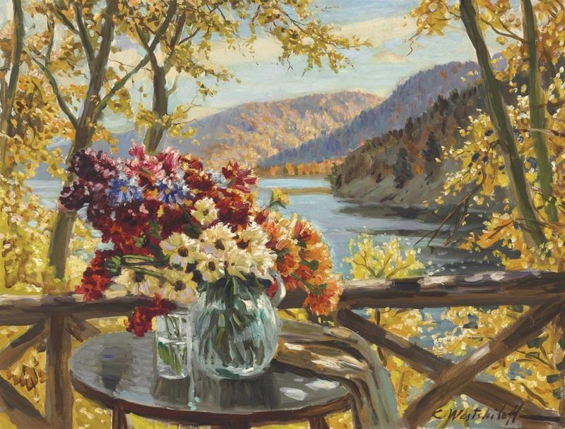 Цветочный натюрморт на горном озере  печать на холсте, натянут Вещилов Константин - фото 1