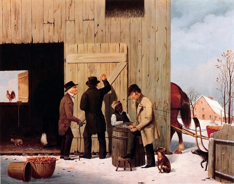 Settling a bill  печать на холсте, натянут Дуррие Джордж Генри - фото 1