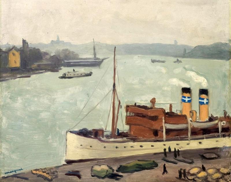 Лодки у причала, Стокгольм  печать на холсте, натянут Марке Альбер - фото 1