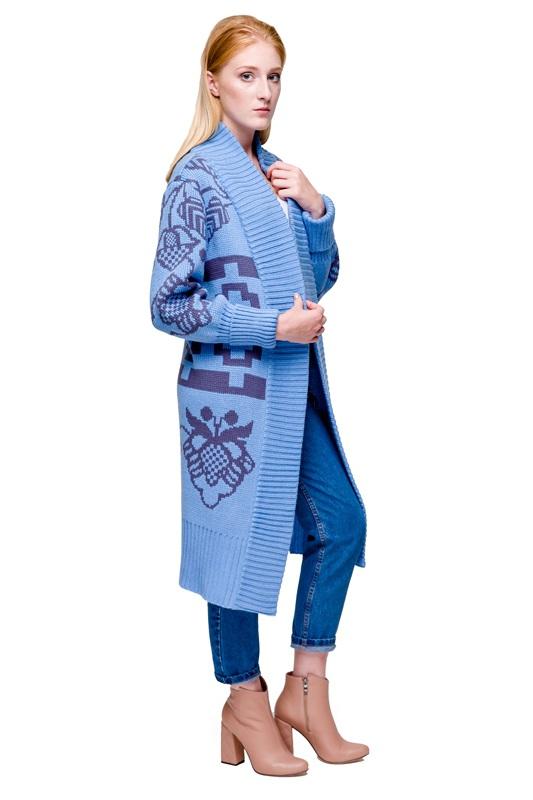 Кардиган Бескида голубовато-серый Голубой 30% шерсть, 70% акрил, дл 2KOLYORY - фото 3