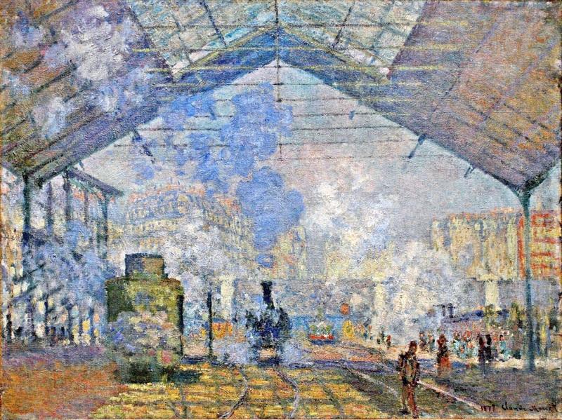 Вокзал Сен-Лазар, вид снаружи  печать на холсте, натянут Моне Клод - фото 1