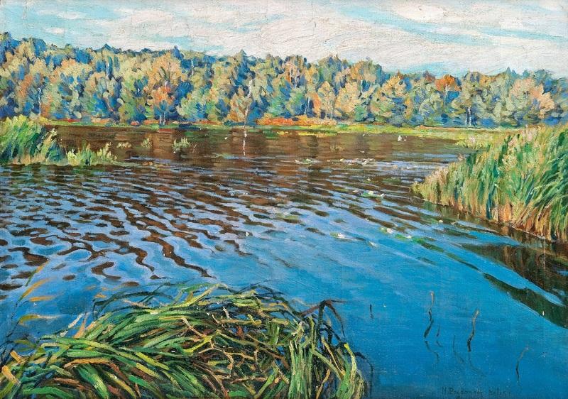 Вид озера  печать на холсте, натянут Богданов-Бельский Николай - фото 1