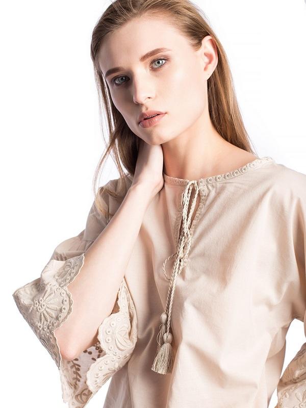 Бежевая льняная блузка с бахромой Ribbon Beige Бежевый  Цвет – бежевый. Ткань – л ЕтноДім - фото 4