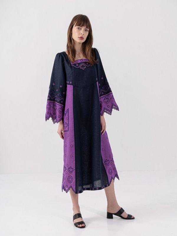 Льняное платье темно-синего цвета Nizhnist Violet Синий Ткань - лен  Рост модели ЕтноДім - фото 1