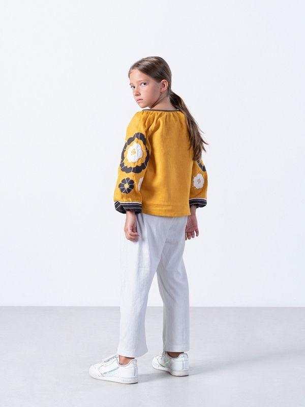 Желтая вышиванка для девочки Sunny Kids Желтый Ткань - лен Техника испо ЕтноДім - фото 5