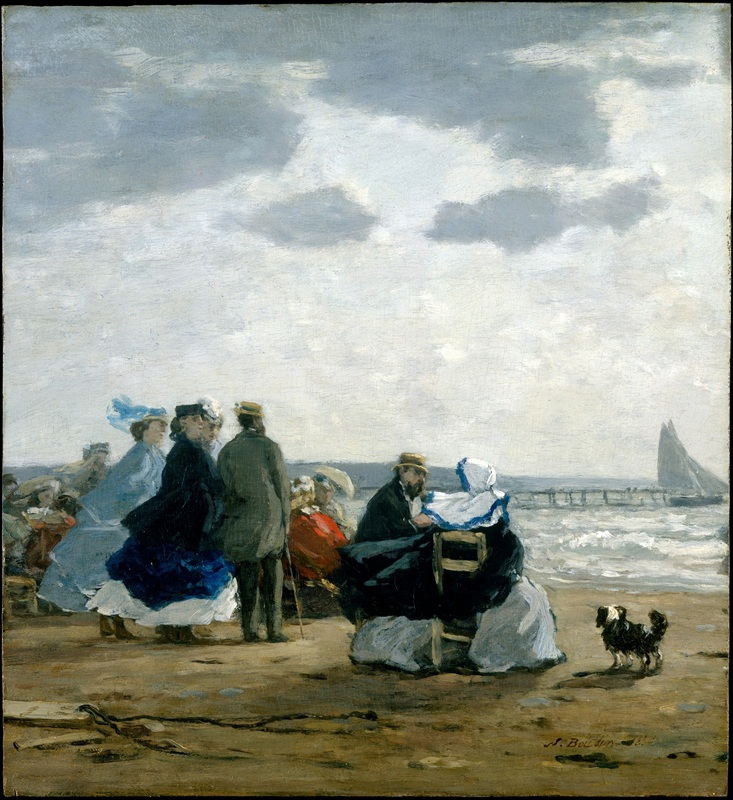 На пляже в Дьепп  печать на холсте, натянут Буден Эжен - фото 1