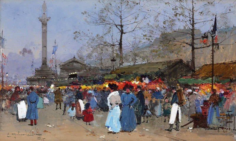 Париж, рынок  печать на холсте, натянут Гальен-Лалу Эжен - фото 1