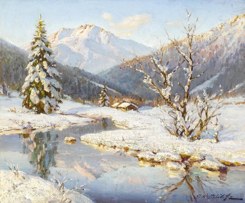 Снежный горный пейзаж  печать на холсте, натянут Вещилов Константин - фото 1