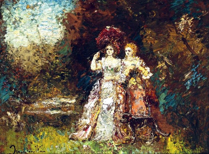 Прогулка в саду  печать на холсте, натянут Монтичелли Адольф Жозеф Тома - фото 1