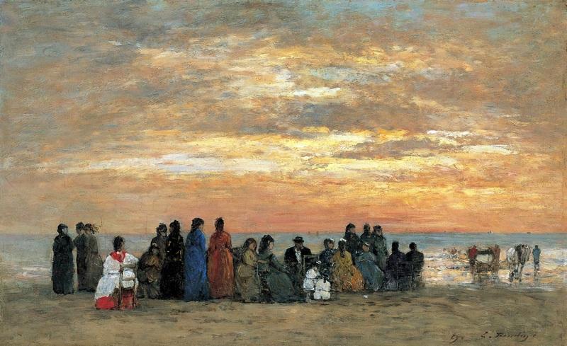 Фигуры на пляже в Трувиле  печать на холсте, натянут Буден Эжен - фото 1