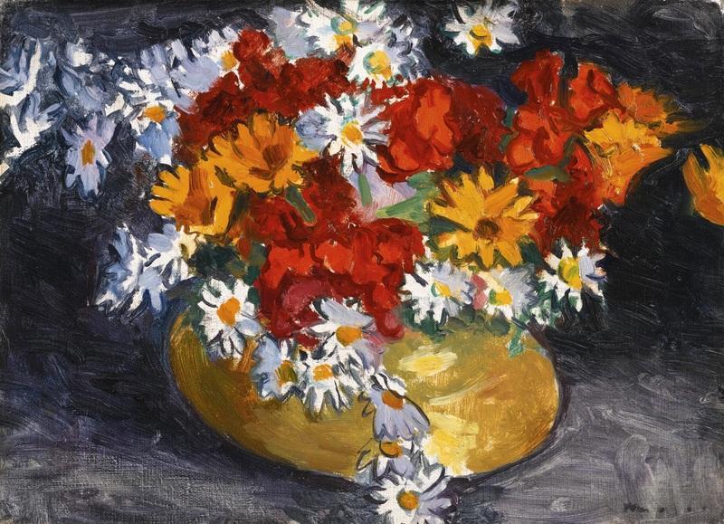 Цветы в медной вазе  печать на холсте, натянут Марке Альбер - фото 1