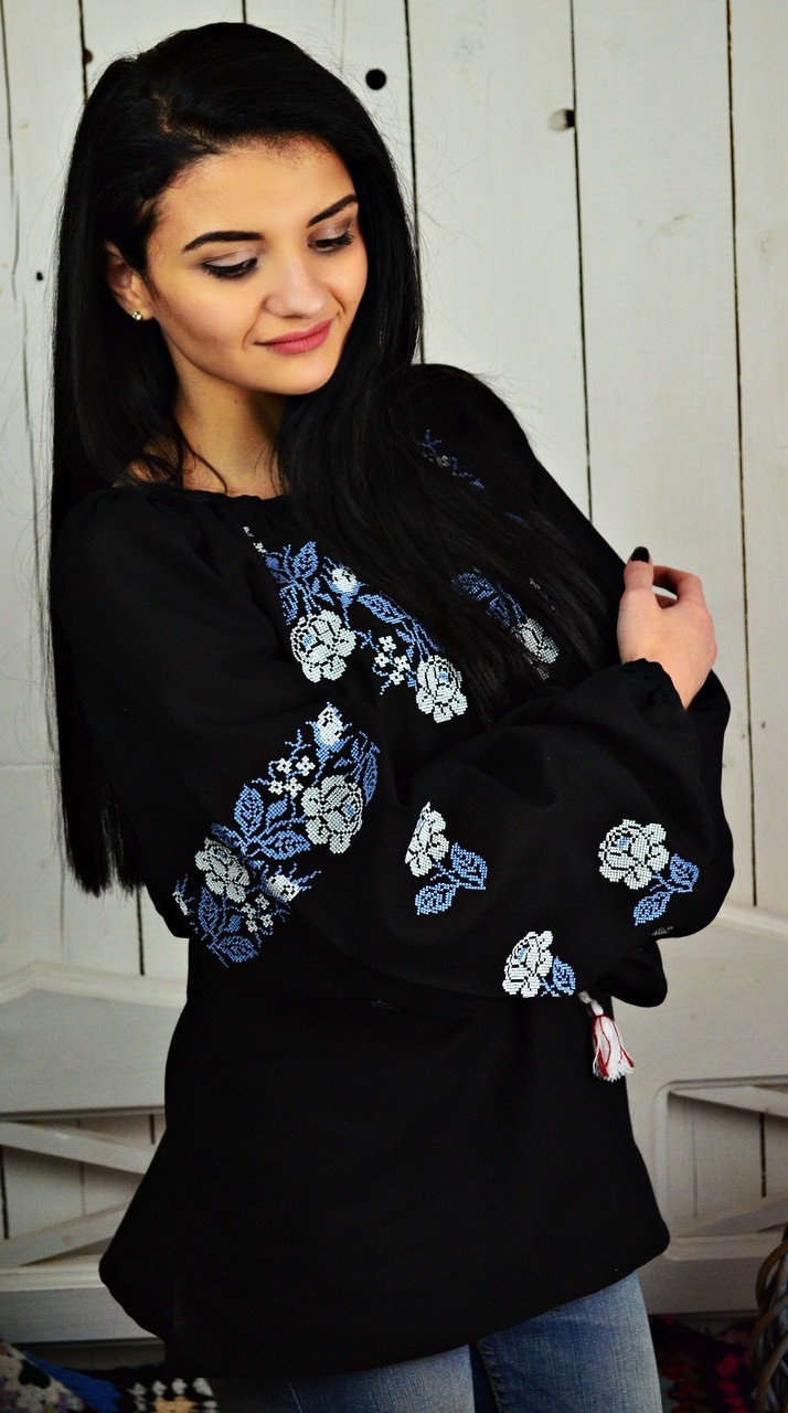 Женская вышитая блуза UA-13  Домотканое полотно. Вышив Бандерівка - фото 2