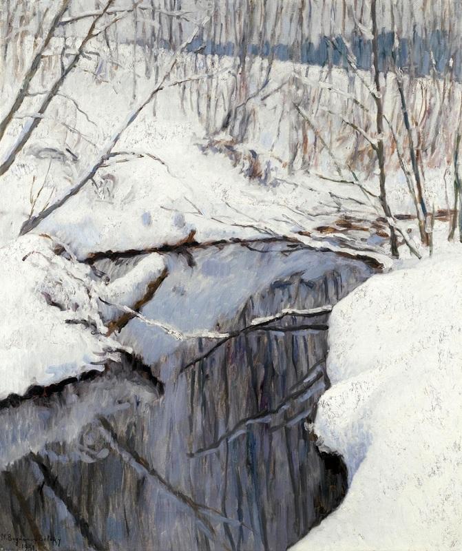 Ручей зимой  печать на холсте, натянут Богданов-Бельский Николай - фото 1
