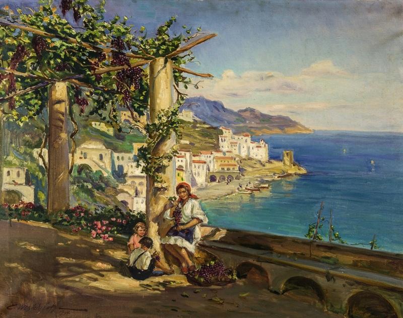 Молодая семья на Капри  печать на холсте, натянут Вещилов Константин - фото 1