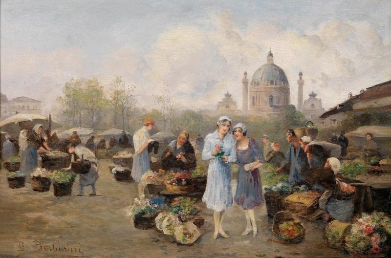 Цветочный рынок на рынке Нашмаркт  печать на холсте, натянут Барбарини Эмиль - фото 1