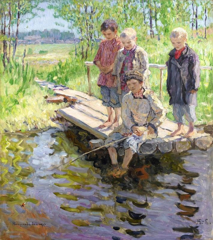 Мальчики на рыбалке  печать на холсте, натянут Богданов-Бельский Николай - фото 1