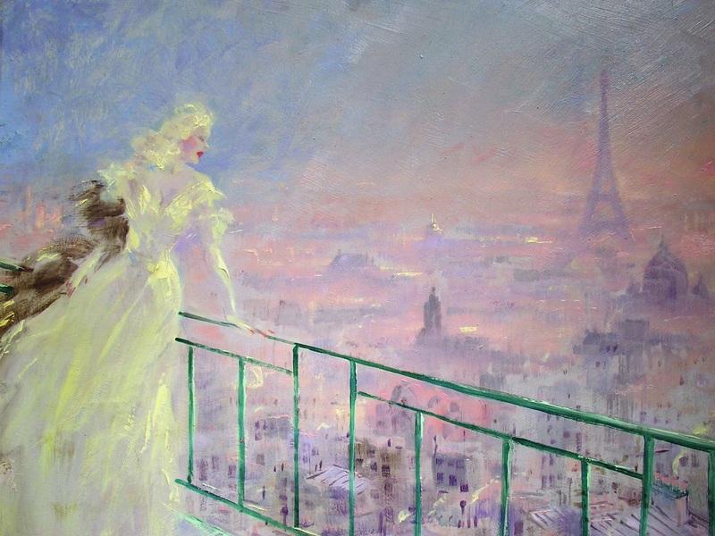 Вечерний Париж  печать на холсте, натянут Икар Луи - фото 1
