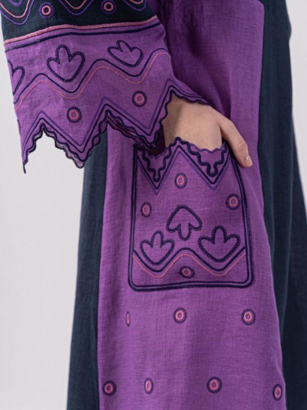 Льняное платье темно-синего цвета Nizhnist Violet Синий Ткань - лен  Рост модели ЕтноДім - фото 3