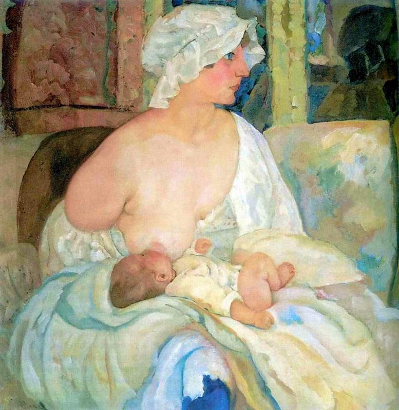 Мать  печать на холсте, натянут Григорьев Борис - фото 1