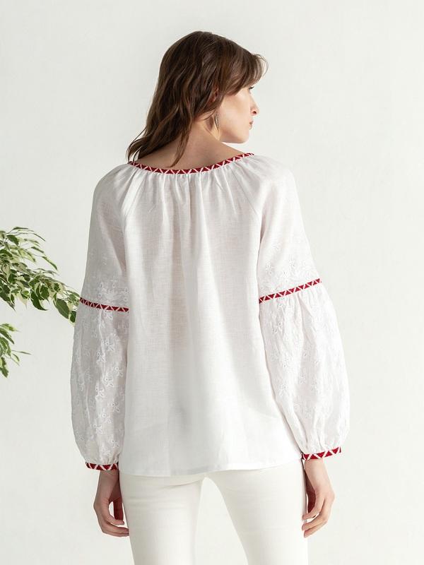 Льняная блузка с красно-белой вышивкой Elin Белый Цвет – белый Ткань – лен ЕтноДім - фото 6