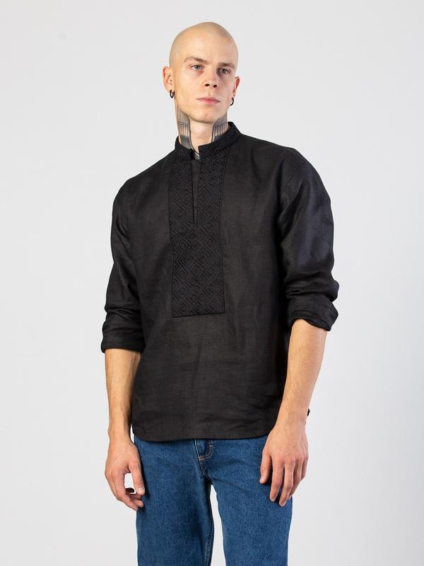 Мужская черная вышиванка с орнаментом в тон Apollo Black Черный Ткань - лен (черный) Тех ЕтноДім - фото 1