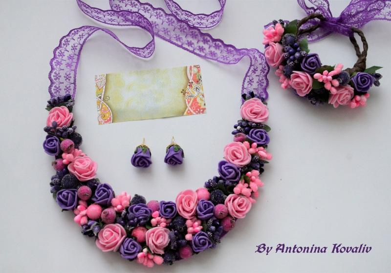 """Кольє, сережки та браслет """"Лавандовий захід"""" Різнобарвний Фоаміран, додатки, мережи Ковалів Антоніна - фото 1"""