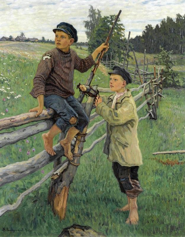 Деревенские мальчики  печать на холсте, натянут Богданов-Бельский Николай - фото 1