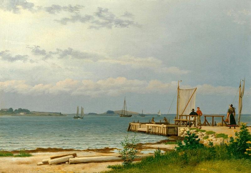 Вид на Костер от пристани в Каллехаве  печать на холсте, натянут Эккерсберг Кристоффер Вильхельм - фото 1