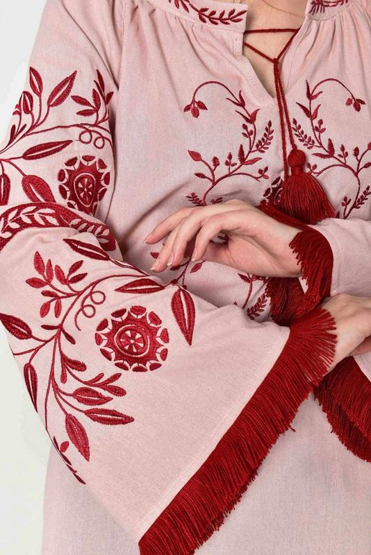 """Вышиванка женская """"Млечный путь"""" пудра Розовый 100% лен 2KOLYORY - фото 3"""