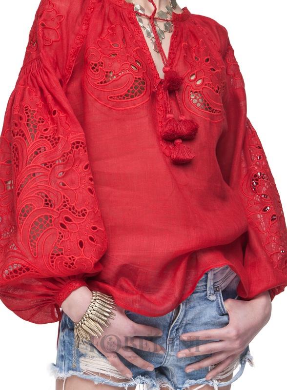 """Вышиванка """"Total Red"""" Красный Лён 100% FOBERINI - фото 5"""