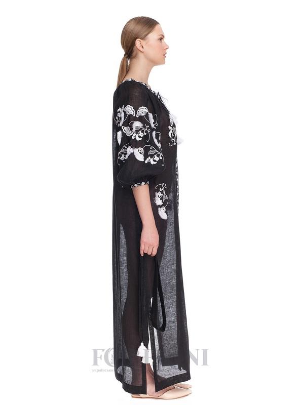 Туника-вышиванка «Жасмин» Черный высококачественный лен FOBERINI - фото 3