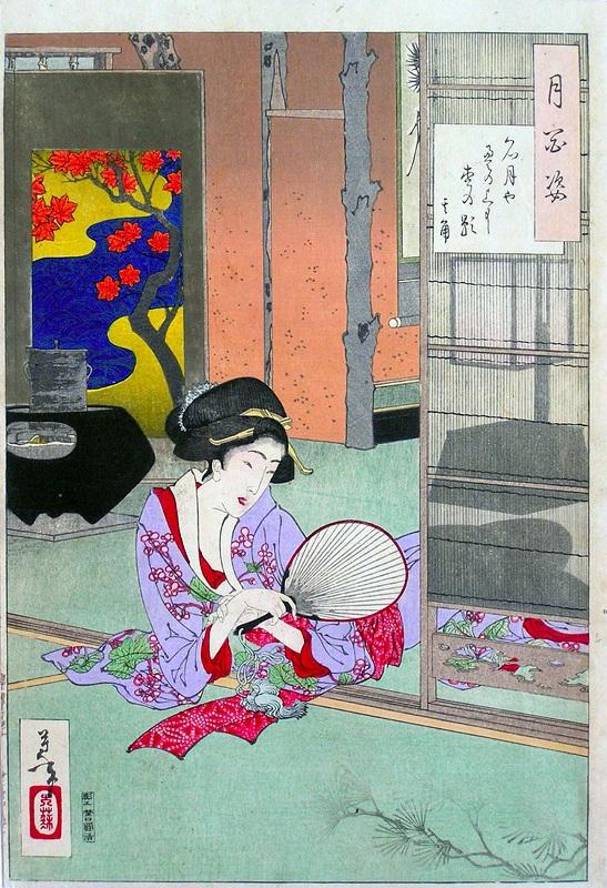 100 Aspects of the Moon №3  печать на холсте, натянут Цукиока Еситоси - фото 1