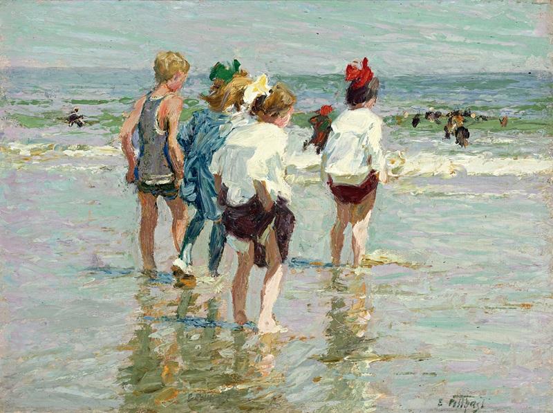 Summer day, Brighton Beach  печать на холсте, натянут Потхаст Эдуард Генри - фото 1