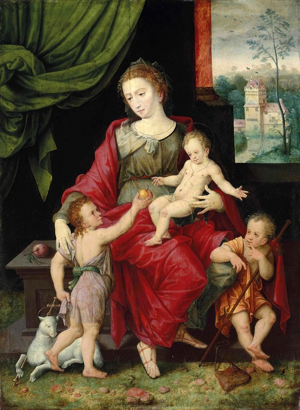 Мадонна с Младенцем и юными Иоанном Крестителем и Иаковом  печать на холсте, натянут Селлаэр Винсент - фото 1