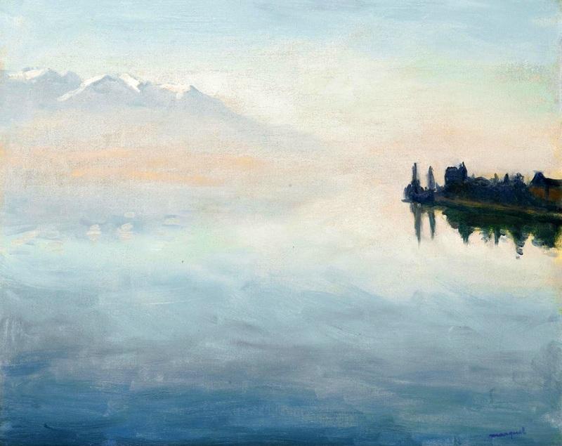 Вид Женевского озера, Монтрэ  печать на холсте, натянут Марке Альбер - фото 1