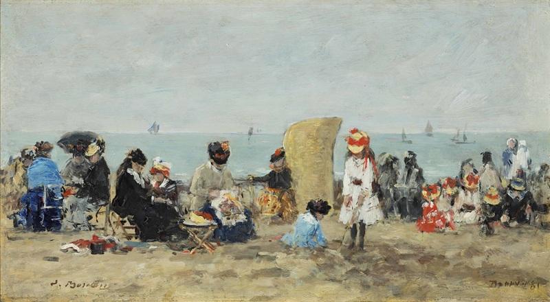 Пляжный пейзаж, Трувиль №3  печать на холсте, натянут Буден Эжен - фото 1