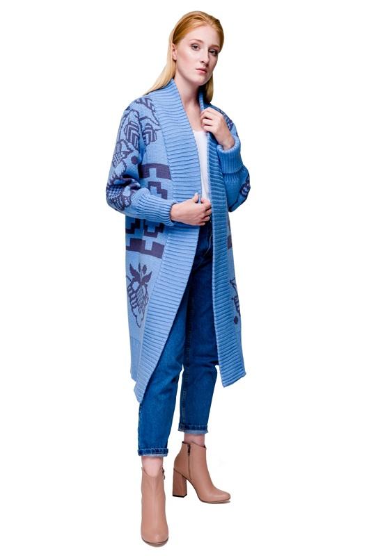 Кардиган Бескида голубовато-серый Голубой 30% шерсть, 70% акрил, дл 2KOLYORY - фото 2