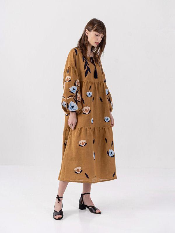 Льняное миди платье c вышивкой Kazka Brown  Ткань - лен Рост модели ЕтноДім - фото 3