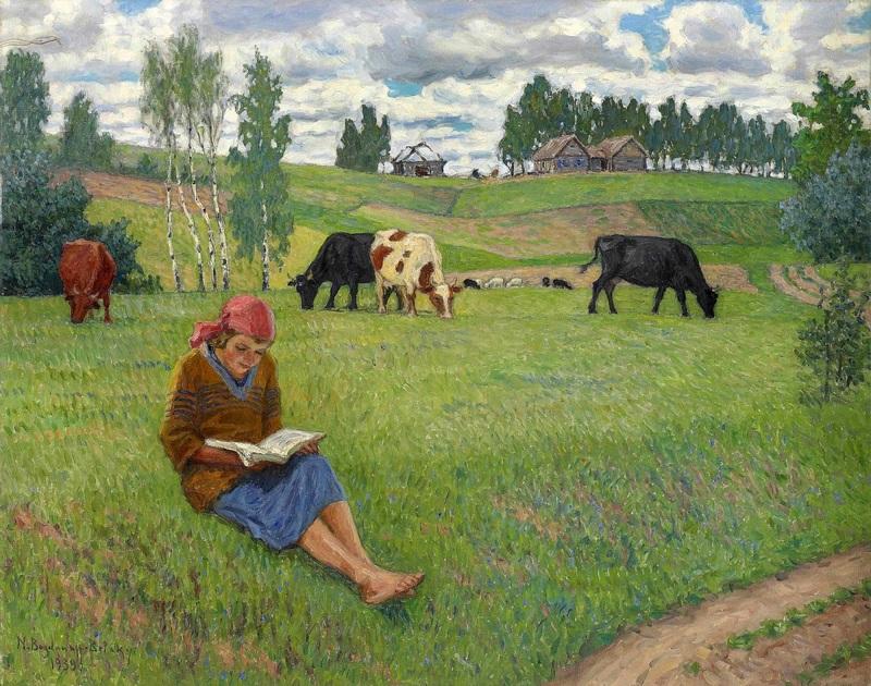 Девочка, читающая на лугу  печать на холсте, натянут Богданов-Бельский Николай - фото 1