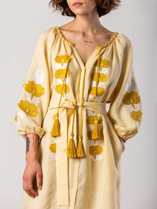 Легкое желтое платье с вышивкой Jawa Желтый Ткань - лен 100% Вышивка ЕтноДім - фото 2