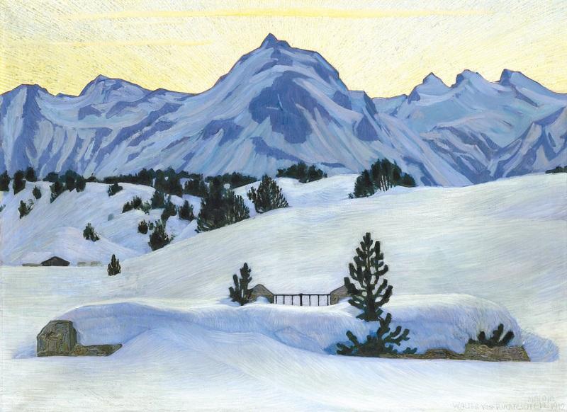 Winter Landscape Near Maloja  печать на холсте, натянут Финк Вальдемар - фото 1